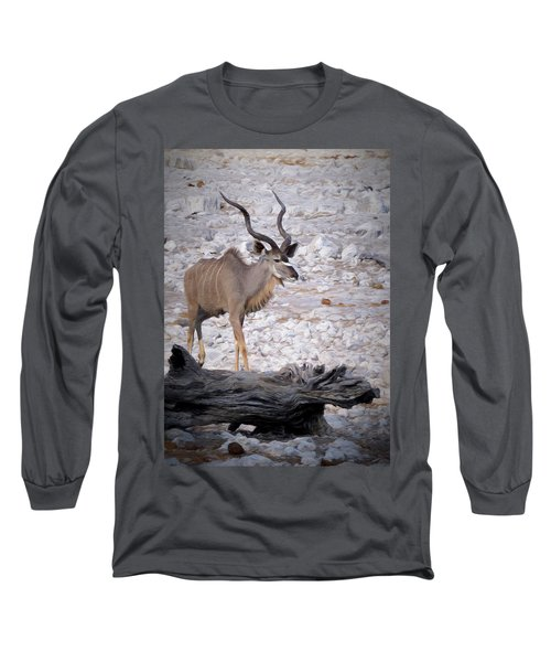 Long Sleeve T-Shirt featuring the digital art The Kudu In Namibia by Ernie Echols