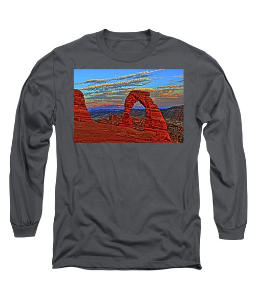 Long Sleeve T-Shirt featuring the photograph The La Sal Mountains And Arch by Scott Mahon
