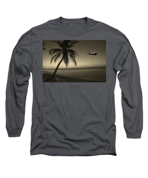 The Last Flight Out Long Sleeve T-Shirt by Susanne Van Hulst