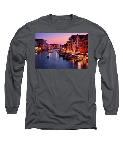 The Blue Hour From The Rialto Bridge In Venice, Italy Long Sleeve T-Shirt