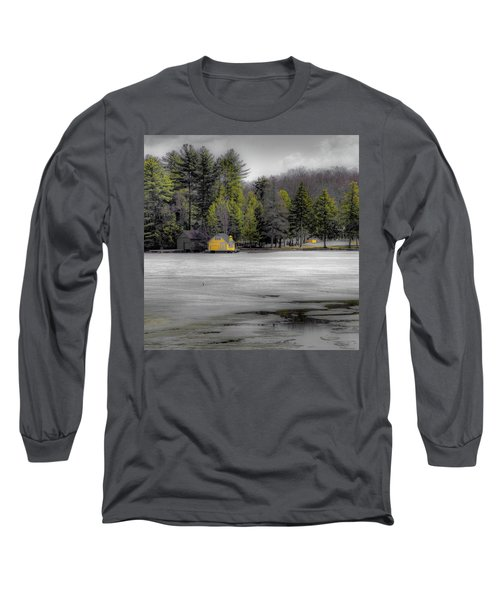 Long Sleeve T-Shirt featuring the photograph The Lighthouse On Frozen Pond by David Patterson