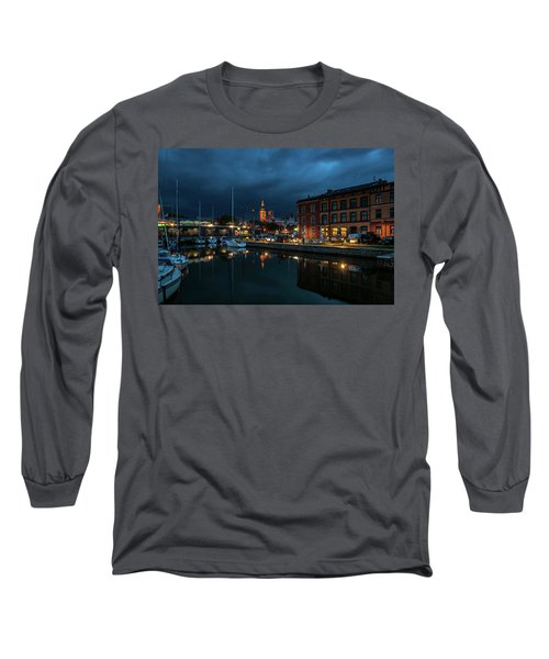 The Little Harbor In Stralsund Long Sleeve T-Shirt by Martina Thompson