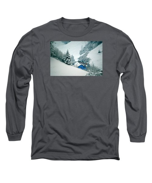 Long Sleeve T-Shirt featuring the photograph The Little Red Train - Winter In Switzerland  by Susanne Van Hulst