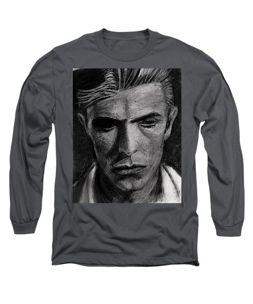 Long Sleeve T-Shirt featuring the painting The Man Who Fell To Earth 1976 by Jarko Aka Lui Grande