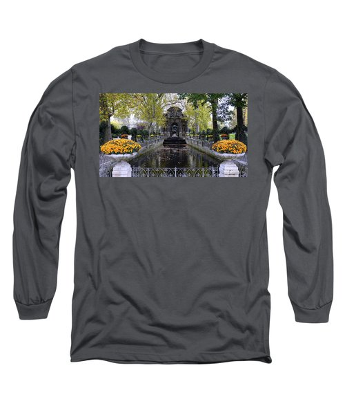 The Medici Fountain At The Jardin Du Luxembourg In Paris France. Long Sleeve T-Shirt