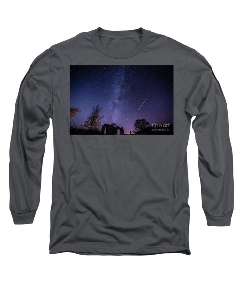 The Milky Way Over Strata Florida Abbey, Ceredigion Wales Uk Long Sleeve T-Shirt