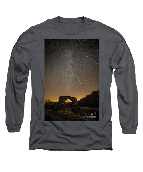 The Milky Way Over The Hafod Arch, Ceredigion Wales Uk Long Sleeve T-Shirt