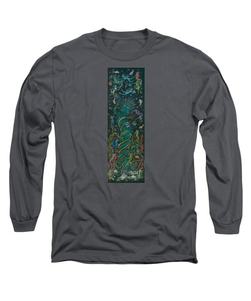 Long Sleeve T-Shirt featuring the drawing The Ocean She by Dawn Fairies