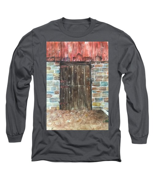 Long Sleeve T-Shirt featuring the painting The Old Barn Door by Lucia Grilletto