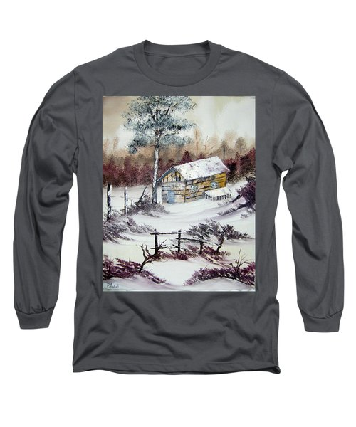 The Old Barn In Winter Long Sleeve T-Shirt