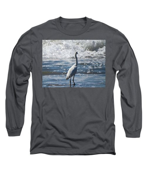 Egret And The Waves Long Sleeve T-Shirt