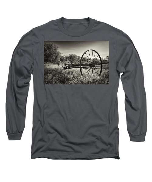 The Old Mower 2 In Black And White Long Sleeve T-Shirt by Endre Balogh