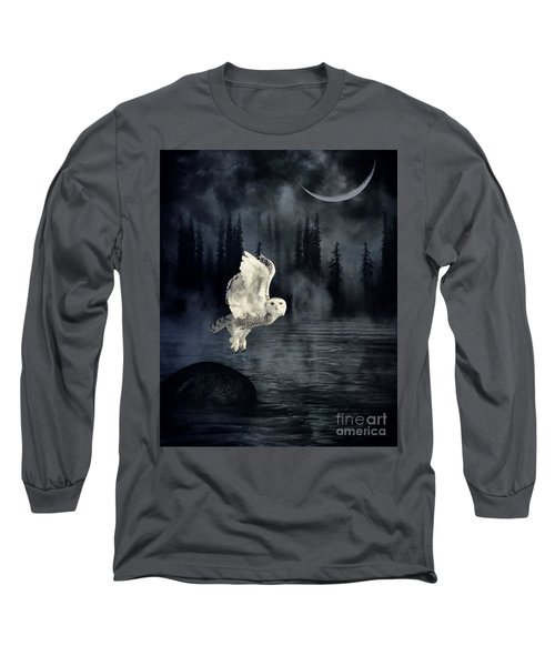 The Owl And Her Mystical Moon Long Sleeve T-Shirt by Heather King