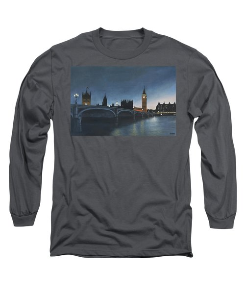 The Palace Of Westminster London Oil On Canvas Long Sleeve T-Shirt