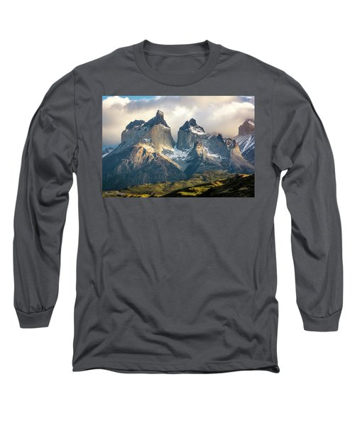 Long Sleeve T-Shirt featuring the photograph The Peaks At Sunrise by Andrew Matwijec