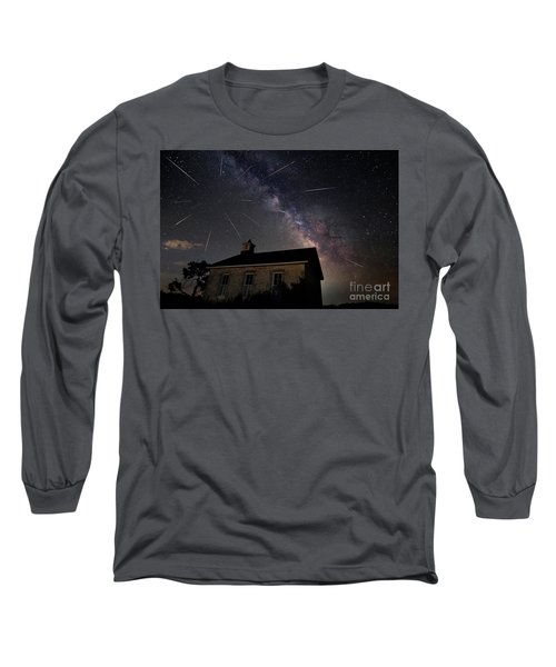 The Perseid Meteor Shower At Lower Fox Creek School  Long Sleeve T-Shirt by Keith Kapple