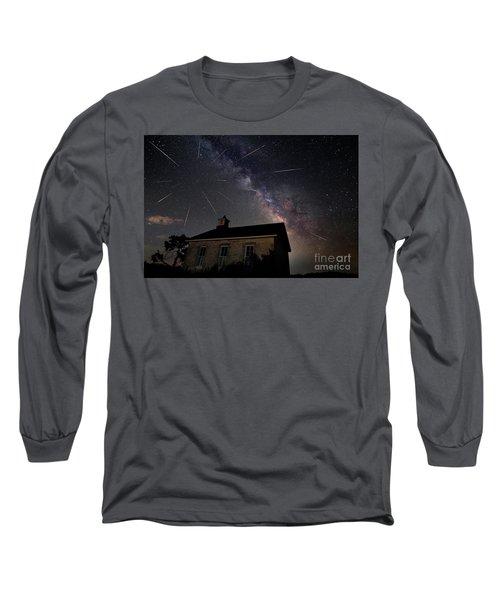 The Perseid Meteor Shower At Lower Fox Creek School  Long Sleeve T-Shirt