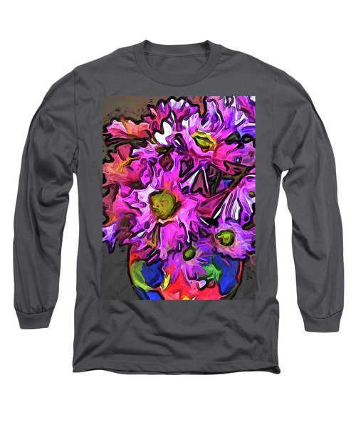 The Pink And Purple Flowers In The Red And Blue Vase Long Sleeve T-Shirt
