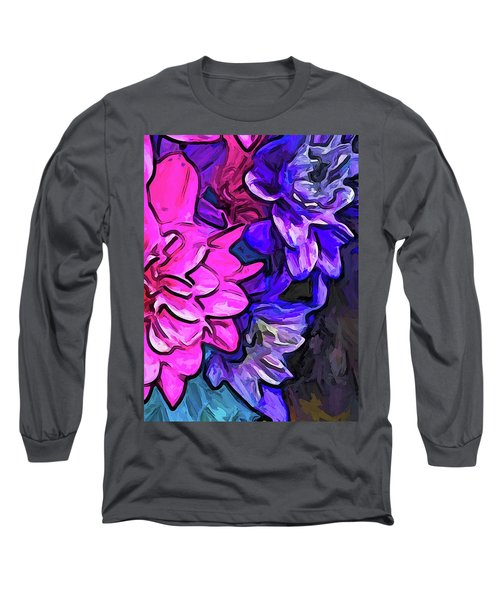 The Pink Petals With The Purple And Blue Flowers Long Sleeve T-Shirt