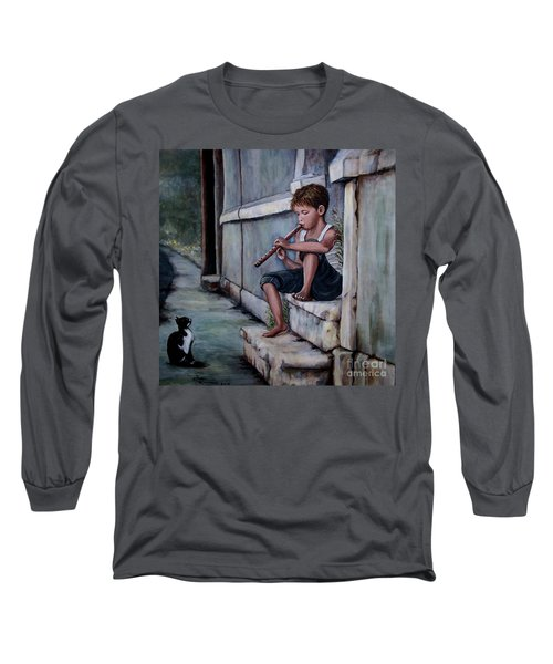Long Sleeve T-Shirt featuring the painting The Piper by Judy Kirouac