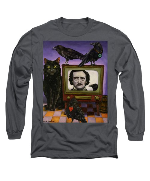 Long Sleeve T-Shirt featuring the painting The Poe Show by Leah Saulnier The Painting Maniac