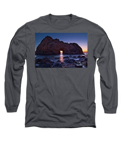 The Portal - Sunset On Arch Rock In Pfeiffer Beach Big Sur In California. Long Sleeve T-Shirt