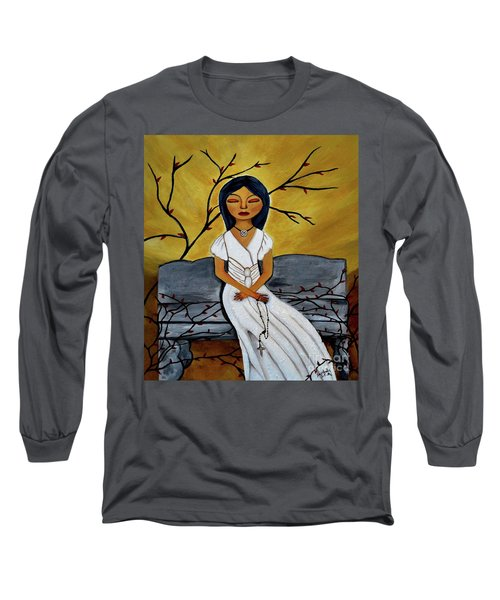 Long Sleeve T-Shirt featuring the painting The Power Of The Rosary Religious Art By Saribelle by Saribelle Rodriguez