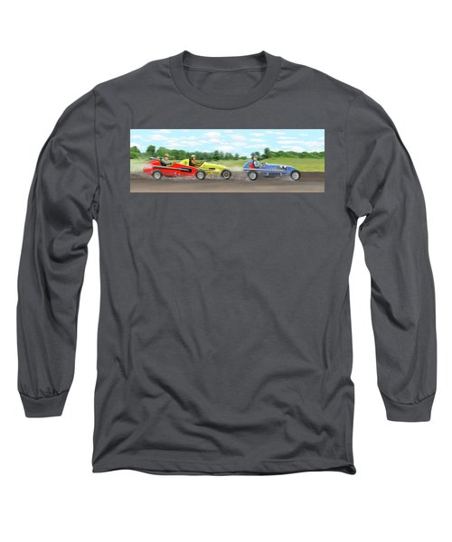 Long Sleeve T-Shirt featuring the digital art The Racers by Gary Giacomelli