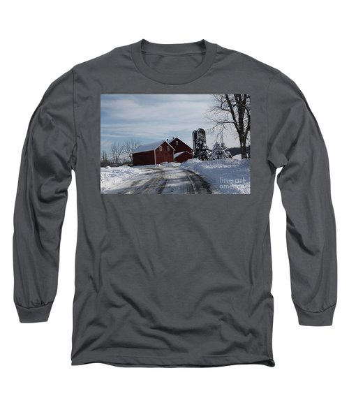 The Red Barn In The Snow Long Sleeve T-Shirt