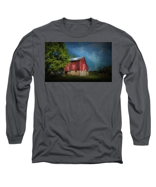 Long Sleeve T-Shirt featuring the photograph The Red Barn by Marvin Spates