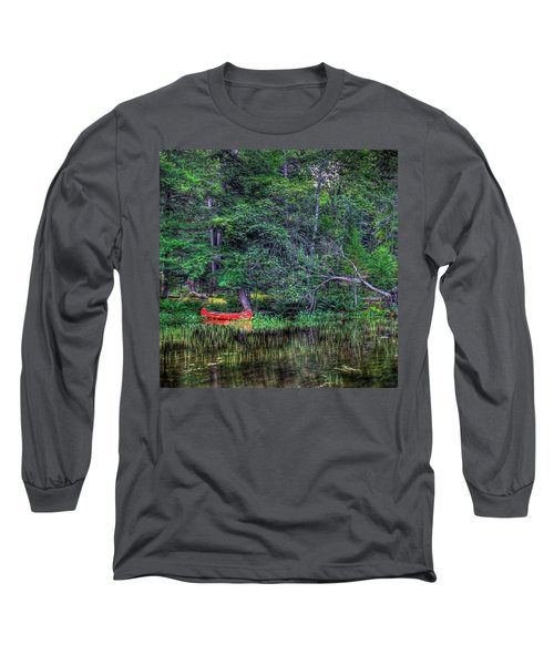 The Red Canoe Long Sleeve T-Shirt by David Patterson