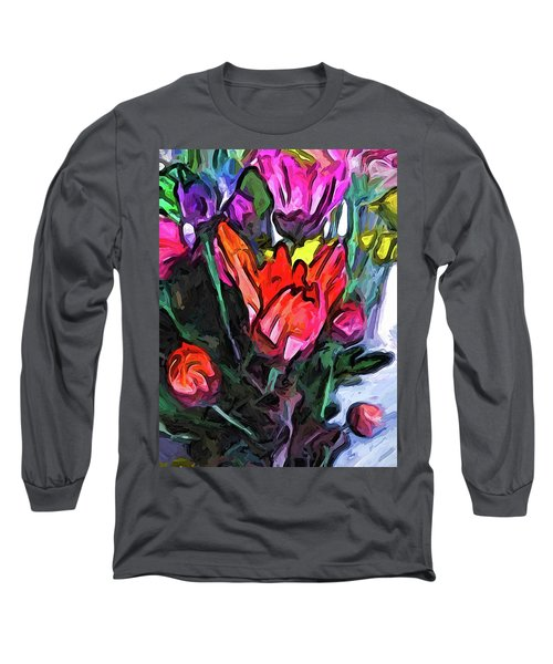 The Red Flower And The Rainbow Flowers Long Sleeve T-Shirt