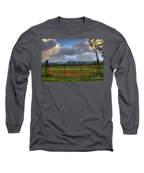 Long Sleeve T-Shirt featuring the photograph The Red Gate by Douglas Stucky