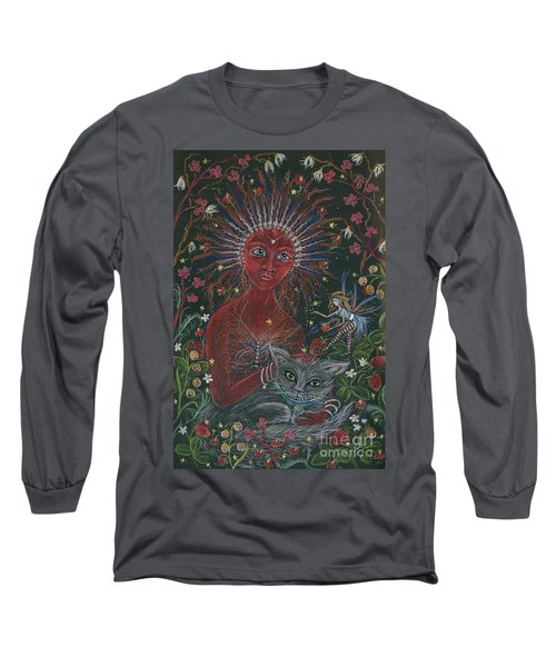 Long Sleeve T-Shirt featuring the drawing The Red Queen by Dawn Fairies