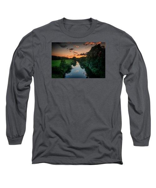 The River Lippe In Lower Rhine Region Long Sleeve T-Shirt by Sabine Edrissi