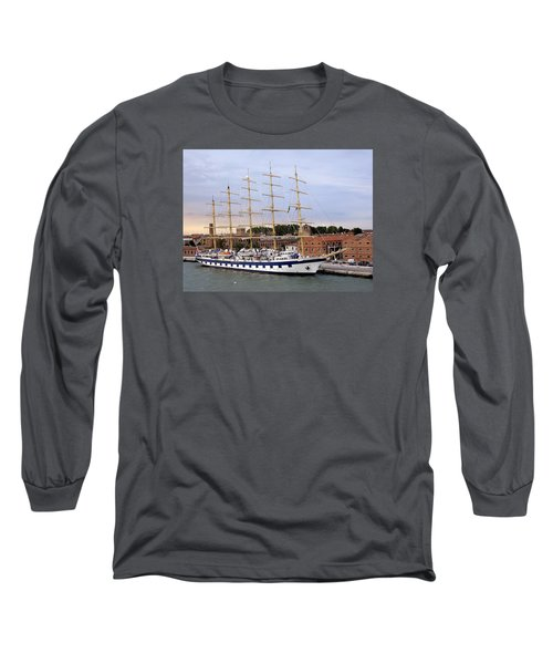 The Royal Clipper Docked In Venice Italy Long Sleeve T-Shirt by Richard Rosenshein