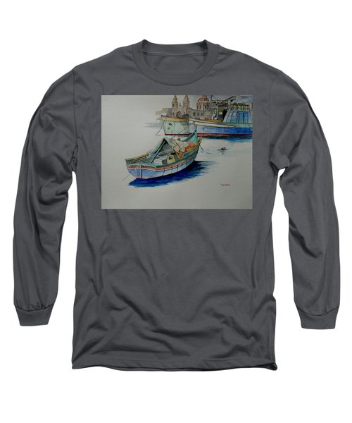 Long Sleeve T-Shirt featuring the painting The San George by Ray Agius