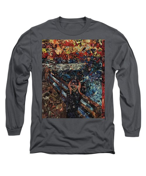 Long Sleeve T-Shirt featuring the mixed media The Scream After Edvard Munch by Joshua Redman