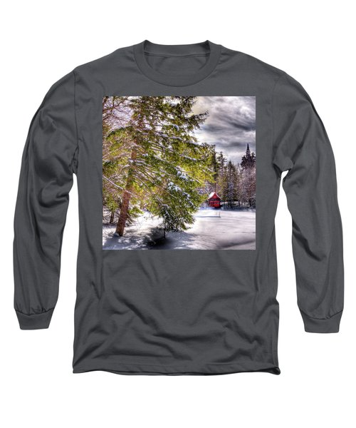 Long Sleeve T-Shirt featuring the photograph The Secluded Boathouse by David Patterson