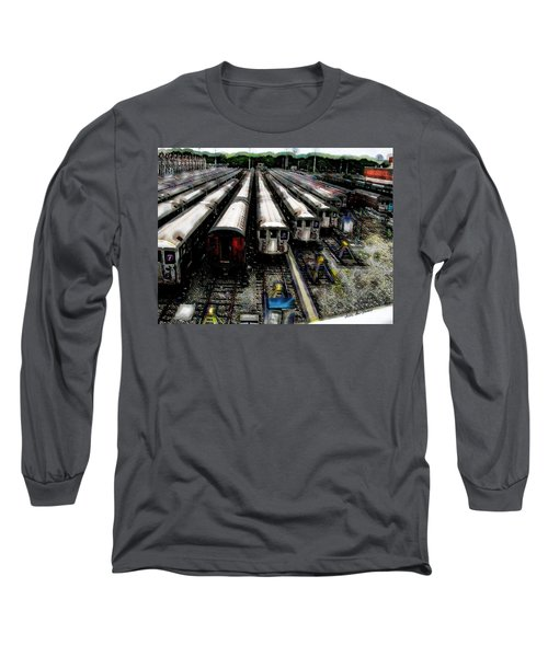 The Seven Train Yard Queens Ny Long Sleeve T-Shirt by Iowan Stone-Flowers