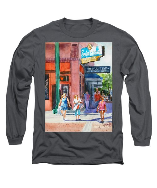 Long Sleeve T-Shirt featuring the painting The Shoppers by Ron Stephens
