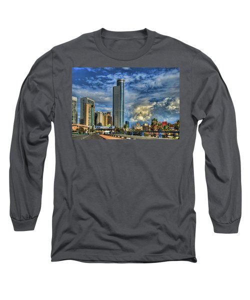 Long Sleeve T-Shirt featuring the photograph The Skyscraper And Low Clouds Dance by Ron Shoshani