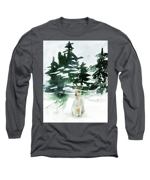 Long Sleeve T-Shirt featuring the painting The Snow Bunny by Colleen Taylor