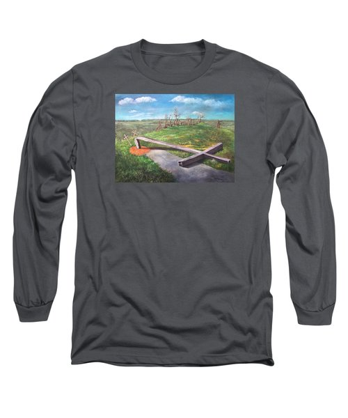 Long Sleeve T-Shirt featuring the painting Millsfield Tennessee Steel Cross by Randol Burns