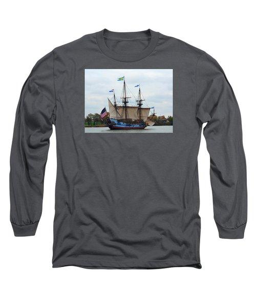 The Tall Ship Kalmar Nyckel Long Sleeve T-Shirt by Richard Ortolano