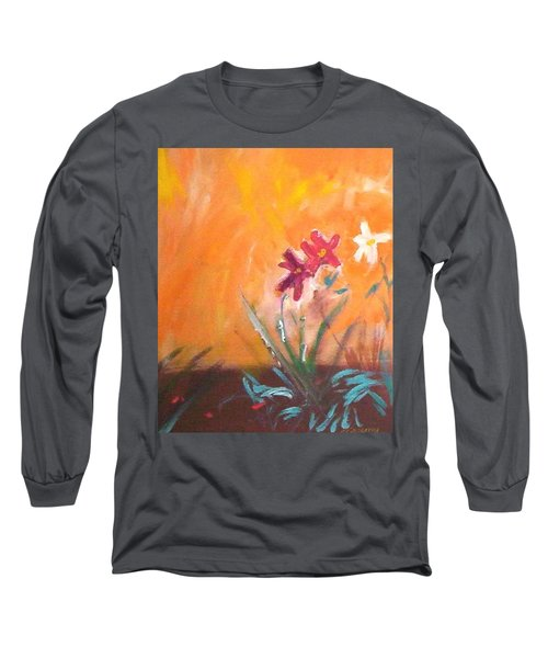 Long Sleeve T-Shirt featuring the painting The Three Daisies by Winsome Gunning