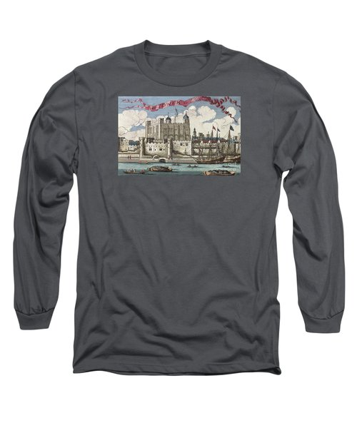 The Tower Of London Seen From The River Thames Long Sleeve T-Shirt by English School