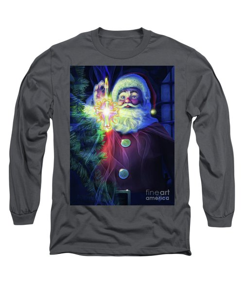 Long Sleeve T-Shirt featuring the painting The True Spirit Of Christmas - Bright by Dave Luebbert