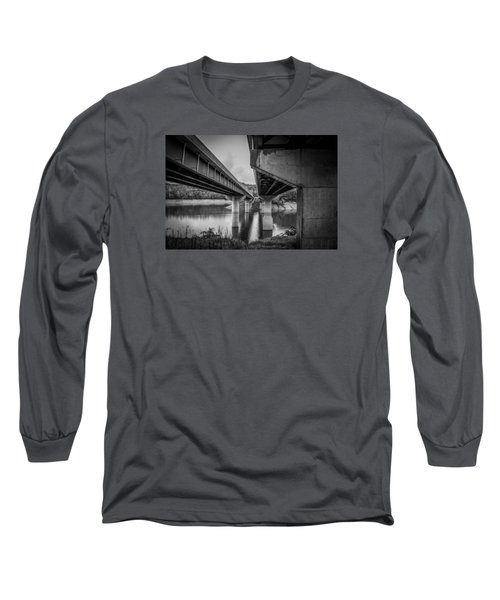 Long Sleeve T-Shirt featuring the photograph The Underside Of Two Bridges by Kelly Hazel