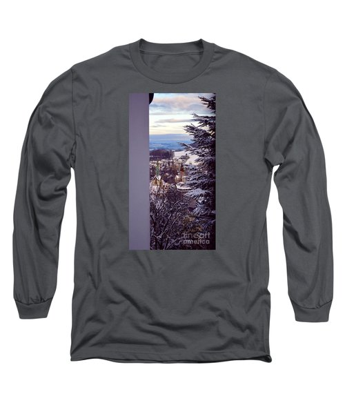 Long Sleeve T-Shirt featuring the photograph The Village - Winter In Switzerland by Susanne Van Hulst
